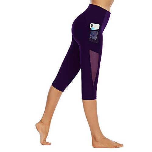SotRong Pantalones capris de malla para mujer, leggings de yoga de 3/4 de longitud con bolsillos de cintura alta, para ejercicio elástico