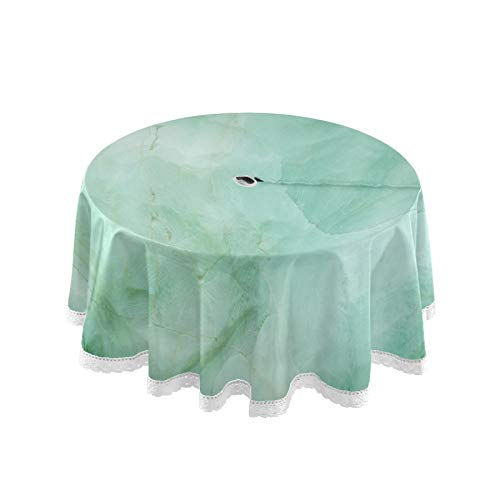 Blueangle Green Marble Pattern Outdoor Tablecloth, Spill Proof and Waterproof with Zipper and Umbrella Hole, Host Backyard Parties, BBQs, & Family Gatherings - (60' Round)
