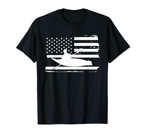 Gran Kayak Americano Bandera Kayak Kayak Kayak Camiseta