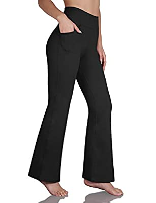 ODODOS Women's High Waist Boot Cut Yoga Dress Pants,Tummy Control Bootleg Workout Pants with Slant Pockets, Black, X-Large