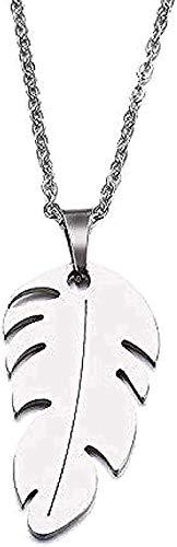 Zaaqio Collar de Acero Inoxidable para Mujer, Hombre, Amante, Colgante de Pluma, Collar, joyería de Compromiso, Regalo