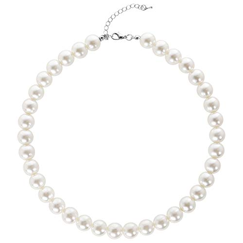 BABEYOND Damen Perlen Ketten Kurze Runde Imitation Perle Halskette Hochzeit Perlenkette für Bräute Weiß (Durchmesser der Perle 12mm)