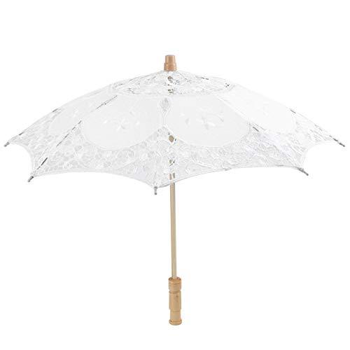 EVTSCAN Ombrello Mini Fiore Ricamato in Seta e Pizzo Fatto a Mano (Solo per Fotografia o Arredamento, Non Pratico per Il Giorno di Pioggia(S-Bianco)