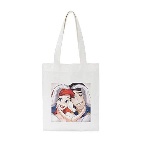 LIUYB Moda Tendencia Belleza con Bestia Salvaje Belleza Amor impresión Hombro Bolsas de Lona Harajuku Casual Gran Capacidad Bolso Bolso de Las Mujeres (Color : 1848)