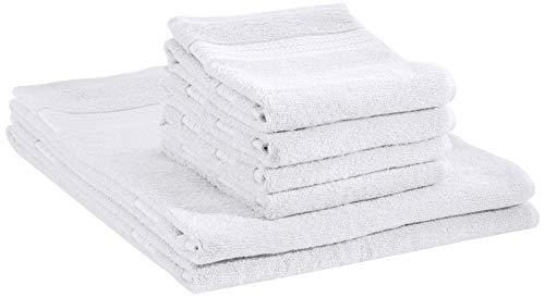 AmazonBasics Performance - 2 teli bagno e 4 asciugamani per il viso, Bianco