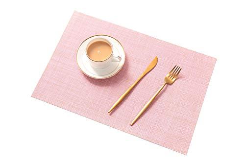 AJINGE Tischsets (6er Set),Neu rutschfest Hitzebeständig Wärmeisolierung Tischsets zum Essen Waschbar Schnell trocknend Dekorativ Tischset für Küche und Esszimmer,Rosa