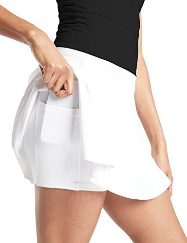 TAIPOVE Tennis Skorts for Women Golf Skirts with Pockets Athletic Sports Running Active White