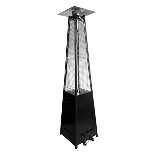 YLJYJ Calentador de Vidrio de Gas con Ruedas Estufa de calefacción de Gas Comercial Calentador de Llama piramidal de Acero Inoxidable Calentador de Patio piramidal (Chimenea)