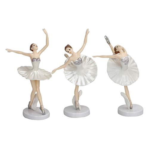 LOVIVER 3X Bailarinas De Ballet De Estilo Europeo Figuras Figuras Porcelana Señora Estatua Diferentes Poses Decoración De Estudio En Casa Adorno