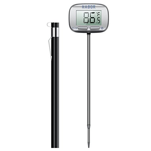 Habor Meat Instant Read Candy Thermometer with Swiveling Head and Large LCD Screen for Christmas Thanksgiving Turkey Kitchen BBQ Gas Grill Smoker Standard Silver