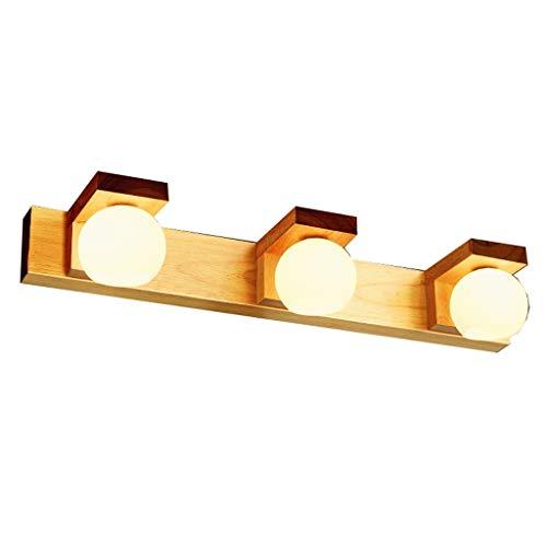 Massief houten badkamer LED spiegel kast licht Scandinavisch Japans waterdicht anti-condens make-up kaptafel lamp spiegel voorlicht