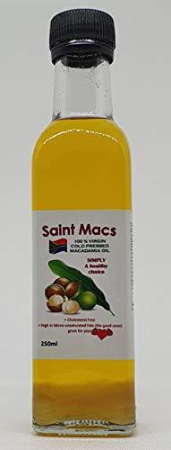Saint Macs Macadamia Oil - 250ml - 100% Virgin Cold Pressed - Essential Oil - Olive Oil Alternative