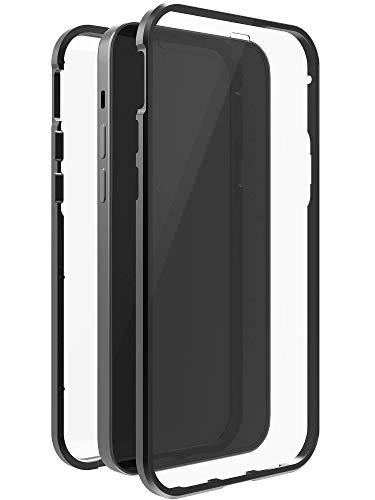 Black Rock - Hülle 360 Grad Glass Hülle Passend für Apple iPhone 12/12 Pro I Handyhülle, Magnet Verschluss, Durchsichtig, Cover (Transparent mit schwarzem Rahmen)