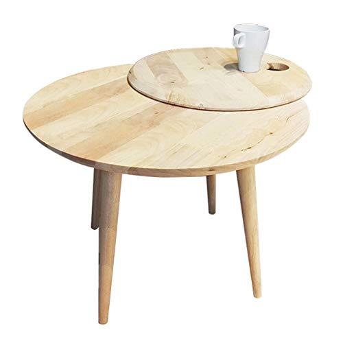 Tables basses Petite canapé en Bois Massif Table d'appoint Table Ronde Salon Table d'appoint Balcon Ronde (Color : Beige, Size : 59 * 59 * 45cm)