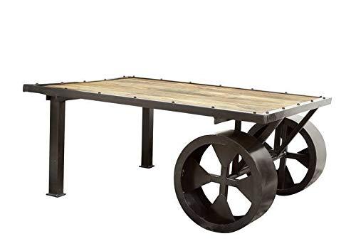 Table basse indutrielle 110x80cm - Fer et Bois massif de manguier laqué (Bois naturel) - RAILWAY #133