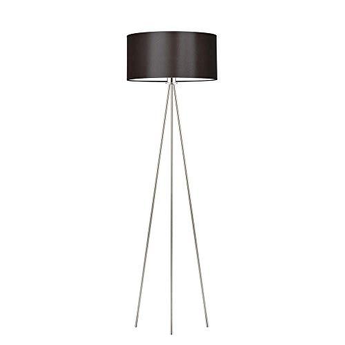 SEWILLA - Lámpara de pie (marco marrón, acero cepillado)