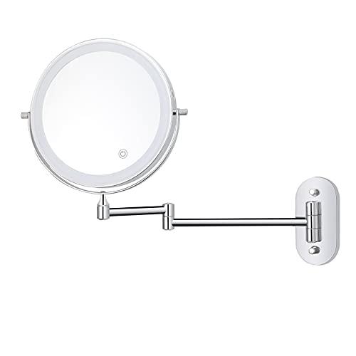 BONADE LED Kosmetikspiegel mit 1X / 5X Vergrößerung Dimmbarer Beleuchtung 3 Farbe Schminkspiegel mit Touchschalter USB & Batteriebetrieben Rasierspiegel 360° Drehung Wandspiegel für Badezimmer