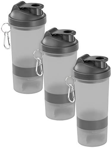 PEARL sports Schüttelbecher: 3er-Set Fitness-Drink-Shaker mit 2 Pulverkammern & Mischball, 500 ml (Eiweiß Shaker)