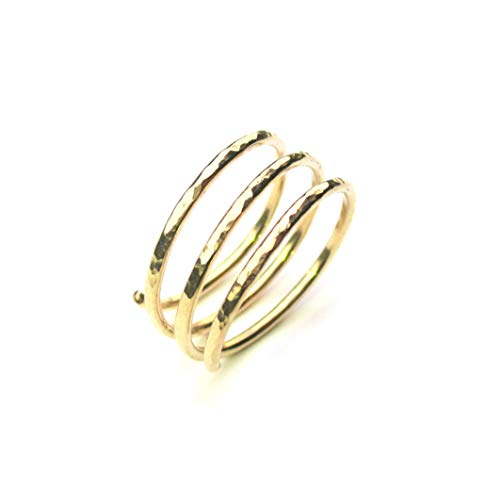 Gold Wraparound Ring in 14k Gold Filled Wire, Adjustable Triple Band