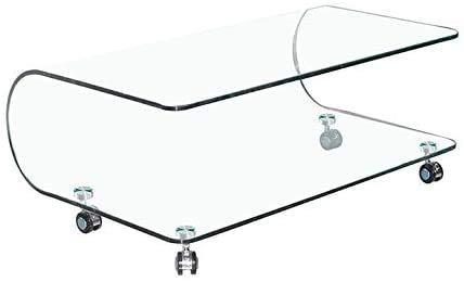 Tavolino Basso Ovale In Vetro Temperato Curvato Con Ruote Rotelle E Ripiano Salotto Soggiorno Sala Da Pranzo Tavolo Da Caffè Design Moderno Elegante Metz S 100 x 60 x 39 cm