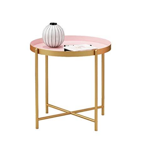 HONGFEISHANGMAO Mesa de Centro Mesa Auxiliar Bandeja Pequeña Mesa de Centro de Metal Plegable Sofá Redondo Pequeña Mesa Lateral Snack Table Rosa 35 cm x 35 cm Mesa de Café (Size : M)