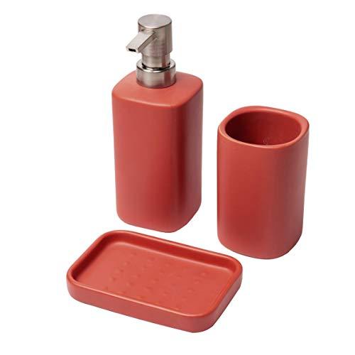 Baroni Home Juego de 3 piezas de cerámica de baño Modern rojo ladrillo, incluye dispensador, vaso y jabonera