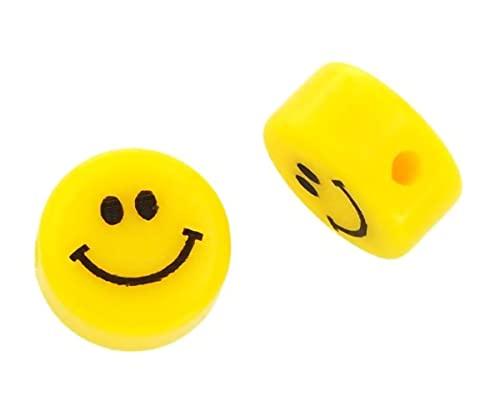 Sadingo 10 cuentas de 10 mm, con forma de emoticono, para hacer pulseras, joyas infantiles, para enhebrar