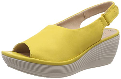 Clarks Damen Reedly Shaina Slingback Sandalen, Gelb (Yellow Nubuck), 39.5 EU