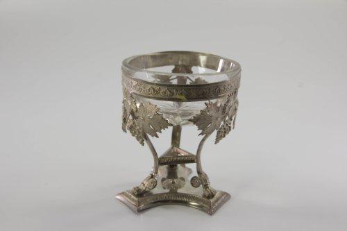 Salzschälchen, um 1820, Biedermeier, deutsch, Silber mit Tremulierstrich, verzierter Ring,...