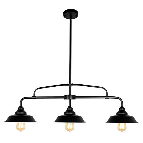 PUZHI HOME Black Pendant Lighting Fixture, 3-Lights Modern Farmhouse Chandelier with Metal Shades Kitchen Island Lighting for Dining Room Hallway