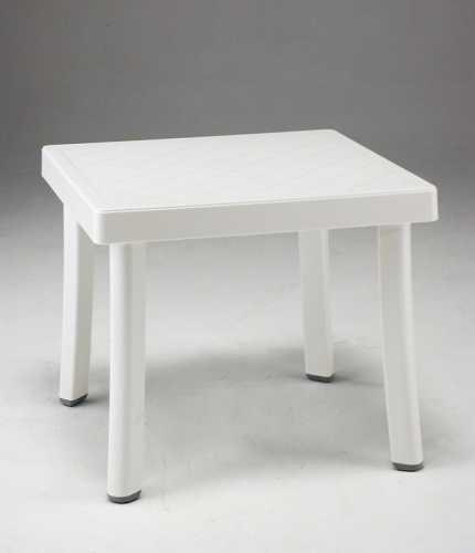 Mesa baja de jardín de resina blanco