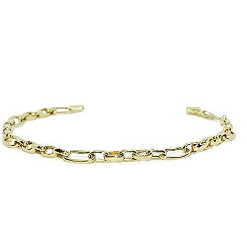 Pulsera de moda para mujer de Oro Amarillo de 18k tipo cadena forzada de 5mm de ancha 19.00cm de Larga. Cierre mosquetón Peso; 3.00 gr de oro de 18k.
