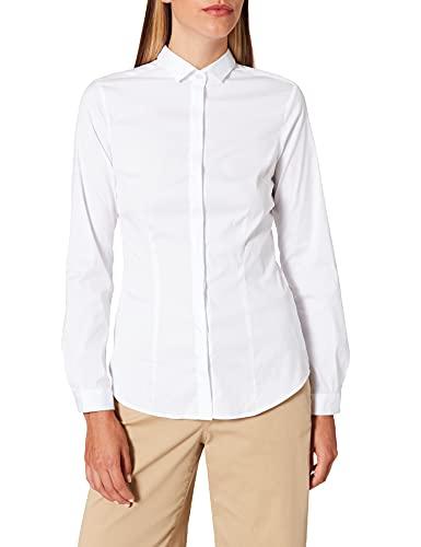 Seidensticker Bluzka damska – modna bluzka – popelina z kołnierzem – slim fit – mieszanka bawełny
