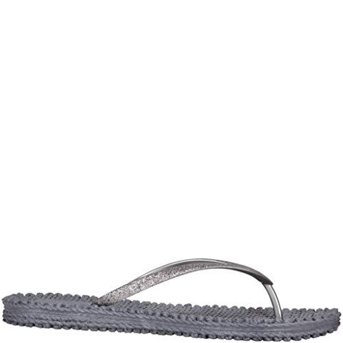 Ilse Jacobsen Damen Sandalen flach | Flip Flops mit Riemen | Schuhe mit Sohle aus Bast | Glitter Look | CHEERFUL01,Grau (Grau (006)),39 EU