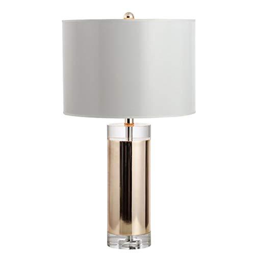 Lámpara de mesa de noche Posmoderna de la sala cilíndrica lámpara de mesa de oro transparente dormitorio lámpara de mesa de cristal de la lámpara de noche romántica Inicio lámpara de mesa Lámparas de