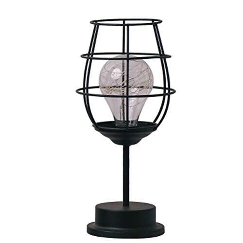 Uonlytech Vintage Eisen Kunst Lampe Weinglas Form Schlafzimmer Lampe Nachtlicht Dekoration Lampe ohne Batterie