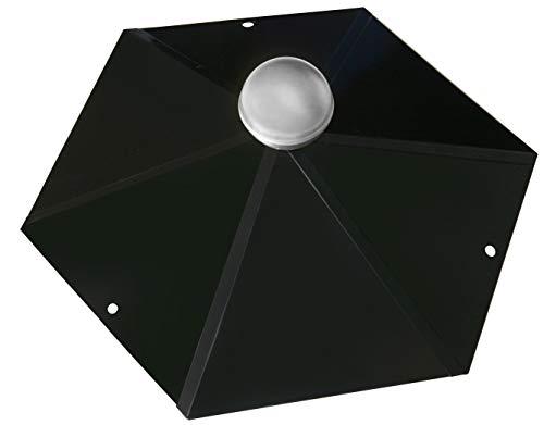 Pavillon-Haube 6-Eck mit Edelstahlkugel, Firsthaube schwarz glänzend