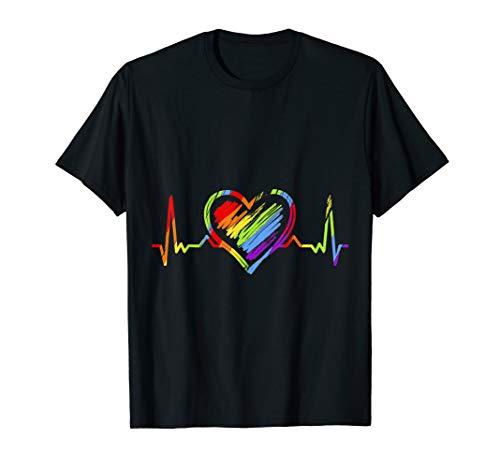 Regenbogen Herzschlag LGBT Gay Pride T-Shirt