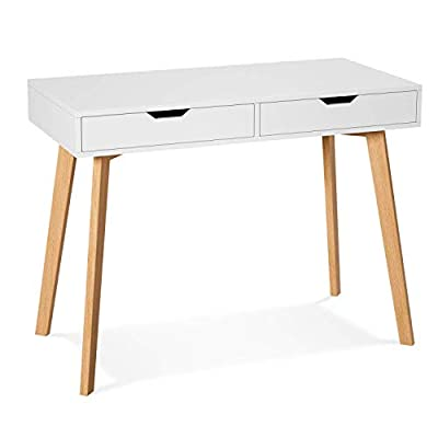 Homfa Writing Computer Desk, Laptop Notebook PC Workstation with 2 Drawers, Simple Study Makeup Vanity Table Modern Furniture for Home Office, White from Homfa