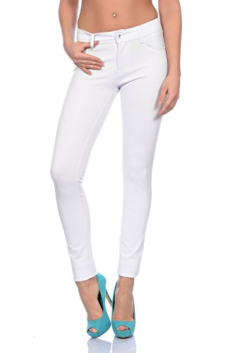 Freyday Modische Damen Jeggings Leggings Hüfthose Stretch Slimfit,bequem (38, Weiß)