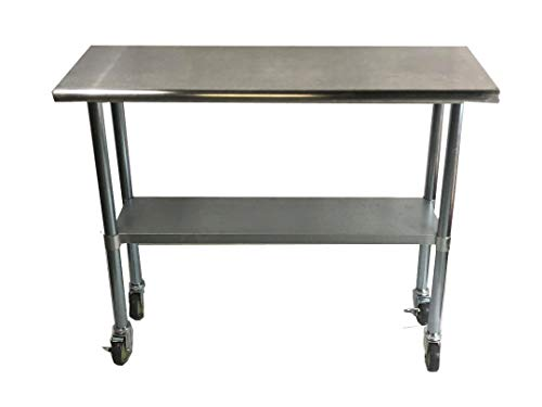Work Table Food Prep 30 x 60 with Casters (Wheels) - Stainless Steel