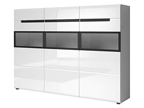 Preisvergleich Produktbild Furniture24 Kommode Hektor - 48,  Sideboard mit 3 Türen und 8 Schubladen,  Wohnzimmerschrank,  Anrichte (Weiß / Weiß Hochglanz / Schwarz,  ohne Beleuchtung)