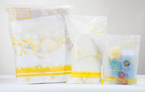 MGKolbe Set 8 Bolsas Recién nacido Layman Hospital Ideal para la preparación de la ropa Primer canastilla Nacimiento 6 Bolsas XXL Más 2 Bolsas para accesorios (amarillo)