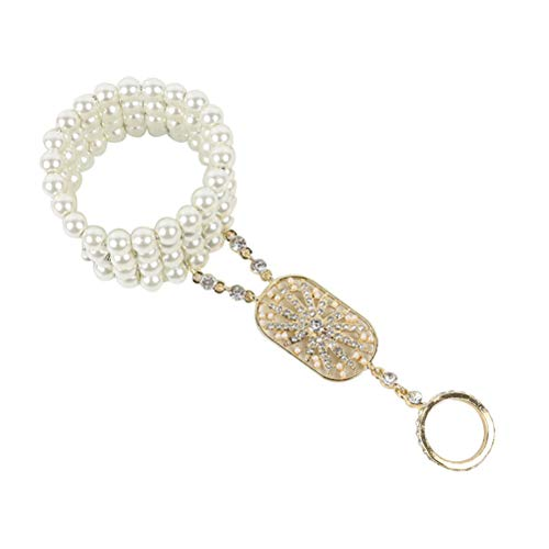 Amosfun 1920er Jahre Flapper Armband Perle Strass Armreif Zubehör für Hochzeit Party Dance (Golden)