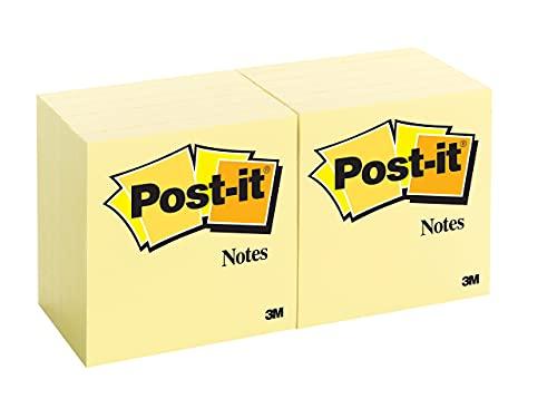 Post-it Brand Notes 3M Foglietti Adesivi, Giallo canarino, 76 x 76 mm, 12 Blocchi