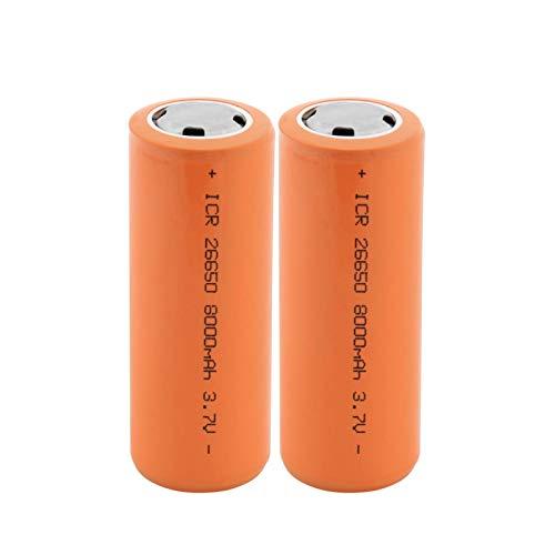 ZhanMazwj 26650 3.7v 8000mah Li-Ion Batería Recargable, BateríAs Seguras Litio De Uso Industrial Adecuado para Batería De Linterna 2PCS