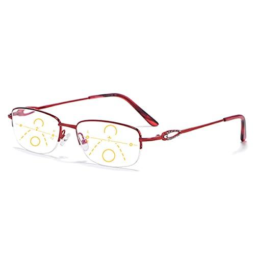 HAOXUAN Gafas de Lectura para Mujer, Gafas de Bloqueo de luz Azul multifocales progresivas, Lector de Medio Marco de aleación, dioptrías +1,00 a +3,00,Rojo,+1.50