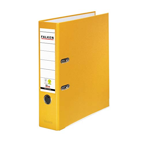 Original Falken PP-Color Kunststoff-Ordner. Made in Germany. 8 cm breit DIN A4 gelb Ringordner Vegan Aktenordner Briefordner Büroordner Plastikordner Schlitzordner