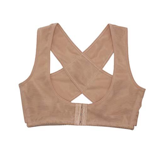 Healifty corrector de postura tops fajas compresión mamaria espalda cruzada soporte para mujeres talla l color de piel