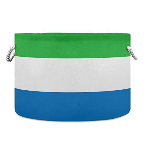 Cesta de almacenamiento redonda impermeable de la bandera de Sierra Leona, 50,8 x 35,5 cm, cesta de la ropa para bebé, cesta de guardería con asas de cuerda para la manta, juguetes y toallas